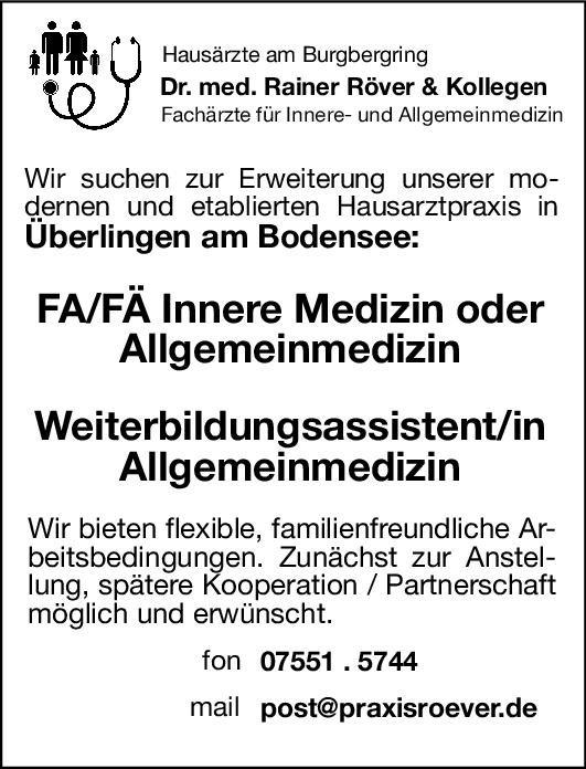 Praxis Dr. med. Rainer Röver & Kollegen Weiterbildungsassistentin/ Assistent Allgemeinmedizin Allgemeinmedizin Assistenzarzt / Arzt in Weiterbildung