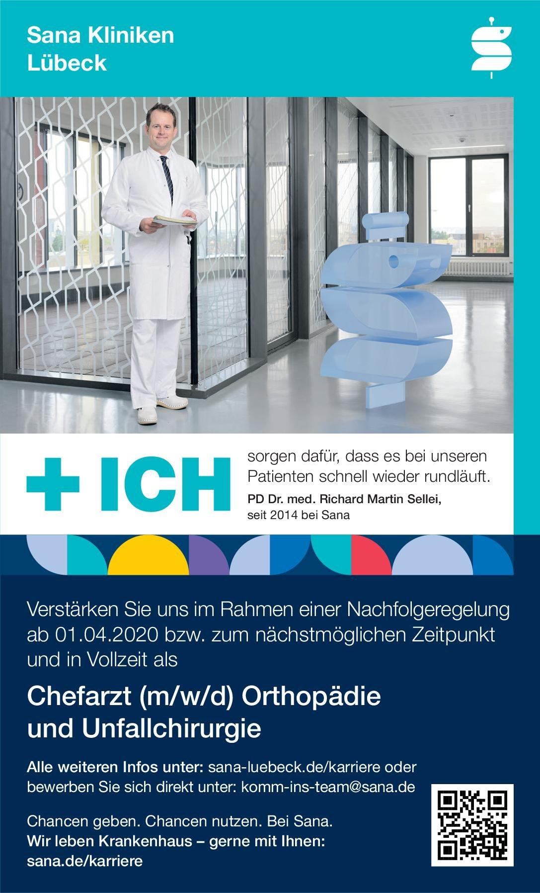 Sana Kliniken Lübeck Chefarzt (m/w/d) Orthopädie und Unfallchirurgie  Orthopädie und Unfallchirurgie, Chirurgie Chefarzt