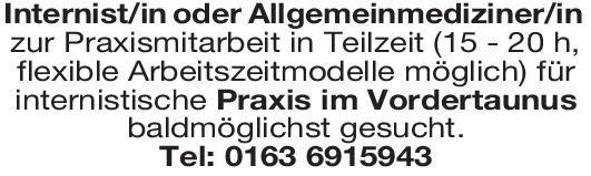 Praxis Internist/in oder Allgemeinmediziner/in  Innere Medizin, Allgemeinmedizin, Innere Medizin Arzt / Facharzt