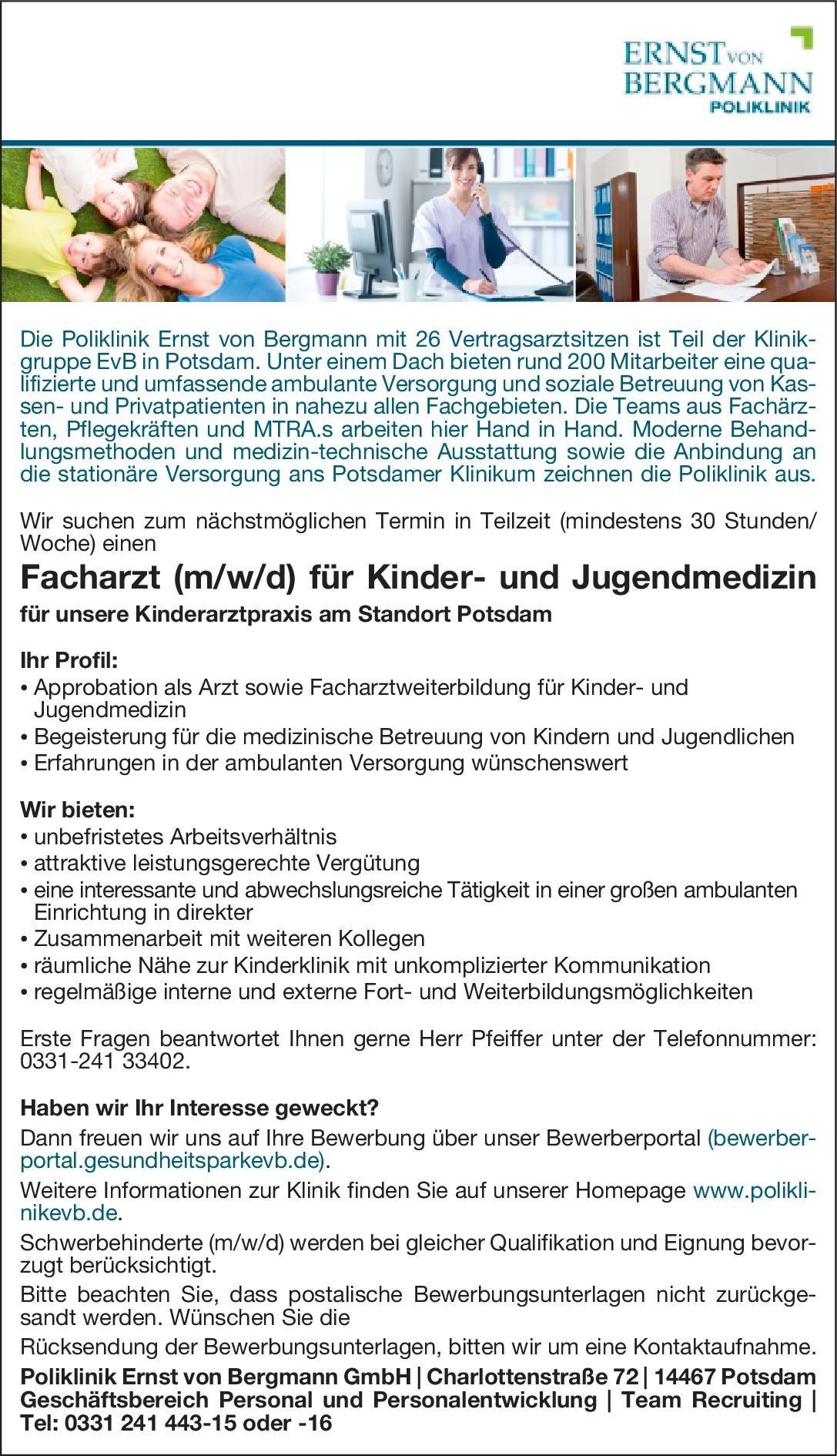 Poliklinik Ernst von Bergmann GmbH Facharzt (m/w/d) für Kinder- und Jugendmedizin  Kinder- und Jugendmedizin, Kinder- und Jugendmedizin Arzt / Facharzt