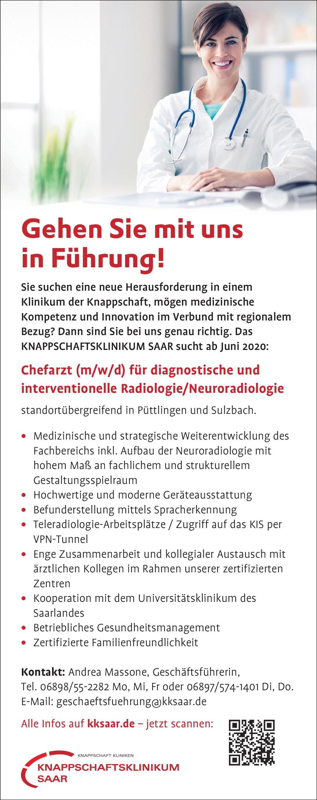 KNAPPSCHAFTSKLINIKUM SAAR Chefarzt (m/w/d) für diagnostische und interventionelle Radiologie/Neuroradiologie  Neuroradiologie, Radiologie, Radiologie Chefarzt