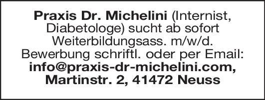 Praxis Dr. Michelini Weiterbildungsassistent m/w/d Internist, Diabetologe  Innere Medizin, Innere Medizin und Endokrinologie und Diabetologie, Innere Medizin Assistenzarzt / Arzt in Weiterbildung