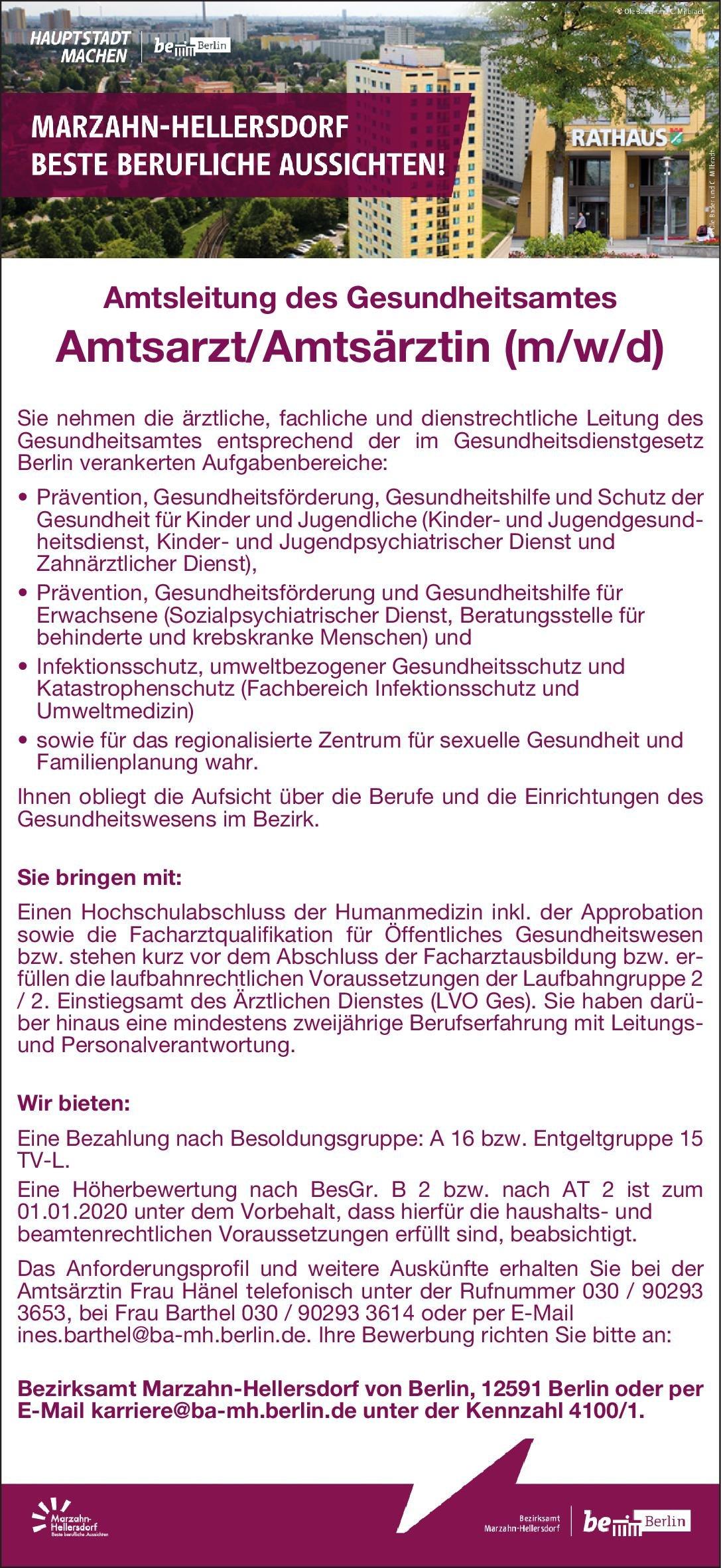 Bezirksamt Marzahn-Hellersdorf von Berlin Amtsarzt/Amtsärztin (m/w/d) Öffentliches Gesundheitswesen Arzt / Facharzt