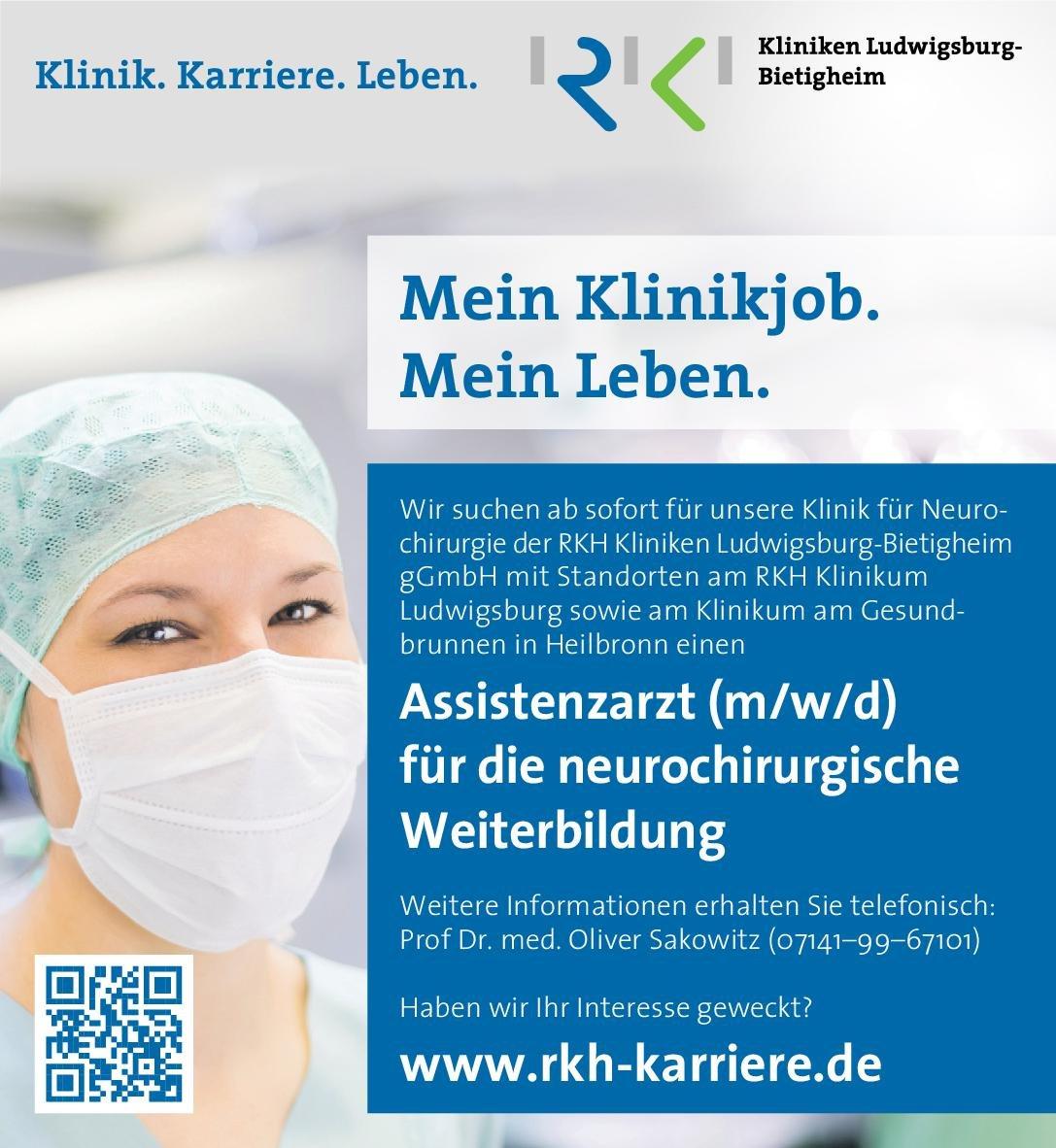 Kliniken Ludwigsburg-Bietigheim Assistenzarzt (m/w/d) für die neurochirurgische Weiterbildung Neurochirurgie Assistenzarzt / Arzt in Weiterbildung