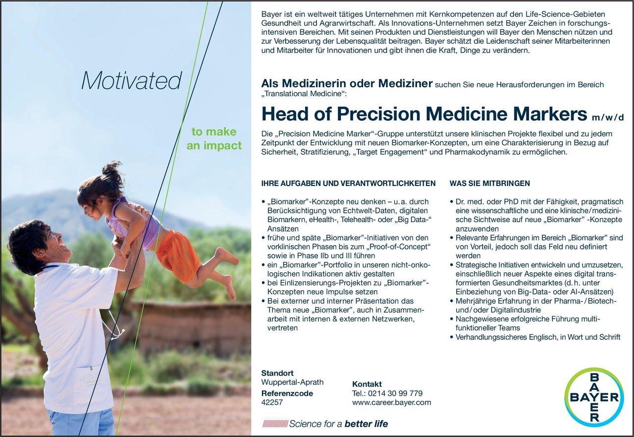 Bayer Head of Precision Medicine Markers m/w/d * ohne Gebiete Arzt / Facharzt