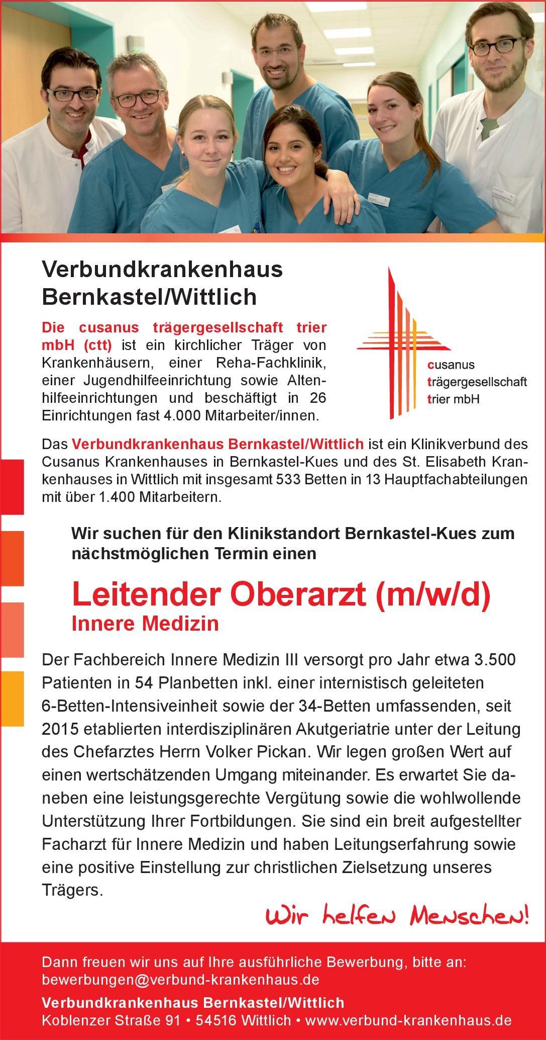 Verbundkrankenhaus Bernkastel/Wittlich Leitender Oberarzt (m/w/d) Innere Medizin  Innere Medizin, Innere Medizin Oberarzt