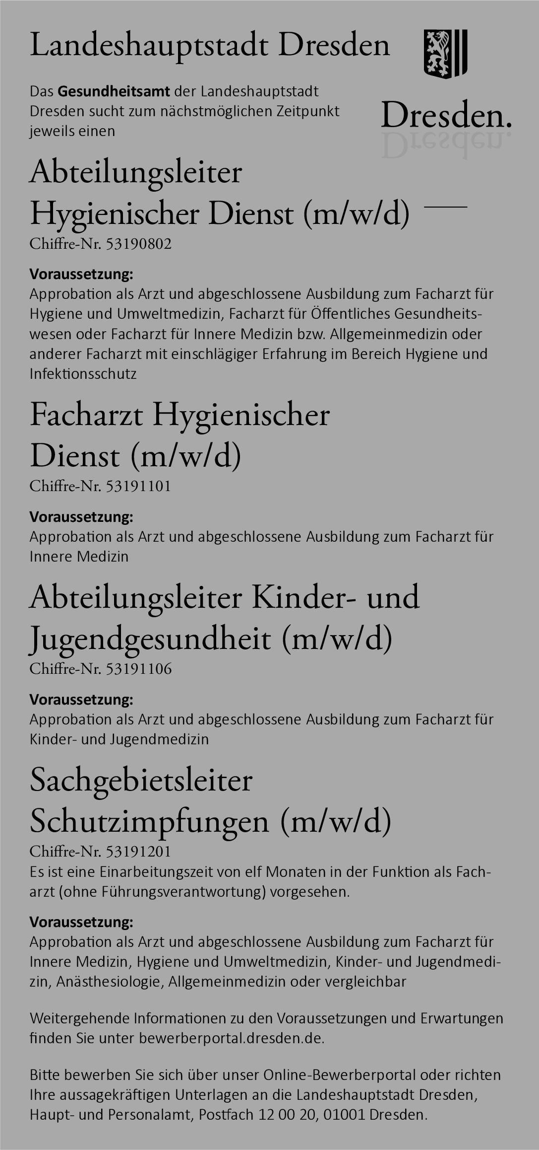 Gesundheitsamt der Landeshauptstadt Dresden Abteilungsleiter Kinder- und Jugendgesundheit (m/w/d)  Kinder- und Jugendmedizin, Kinder- und Jugendmedizin Arzt / Facharzt