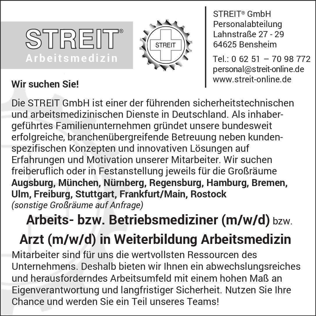 Streit GmbH Arbeits- bzw. Betriebsmediziner (m/w/d) bzw. Arzt (m/w/d) in Weiterbildung Arbeitsmedizin Arbeitsmedizin Arzt / Facharzt, Assistenzarzt / Arzt in Weiterbildung