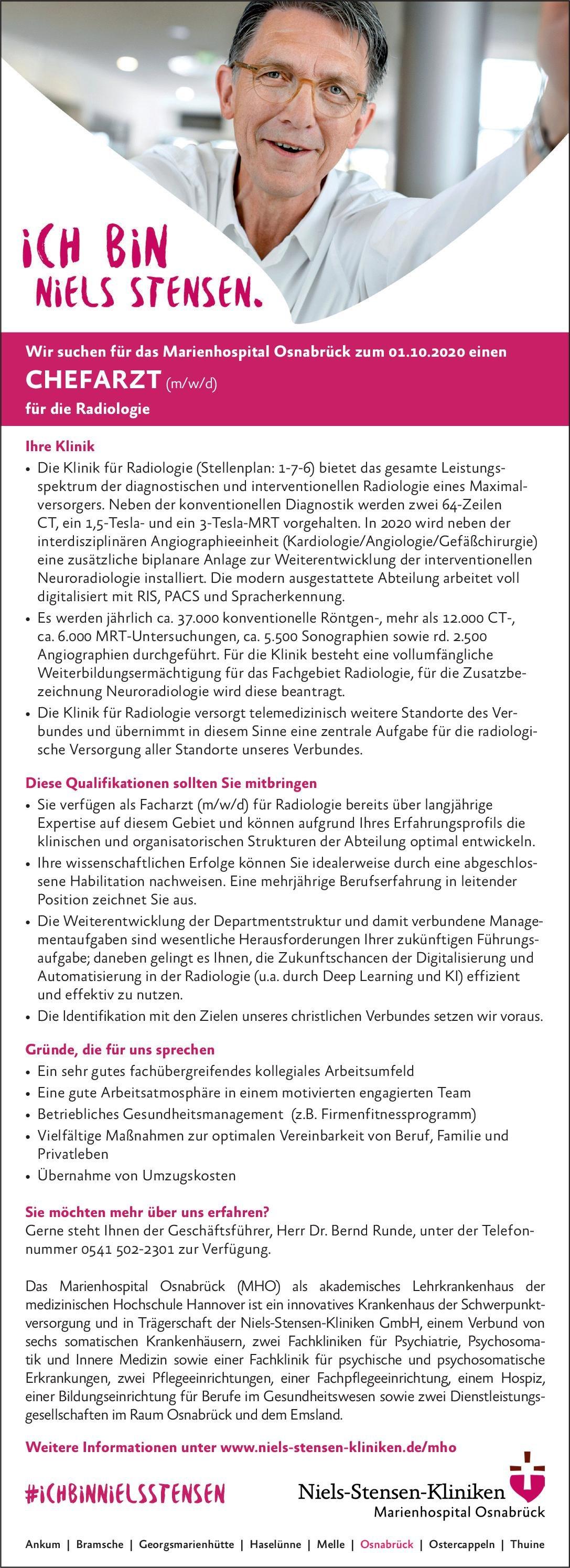 Marienhospital Osnabrück Chefarzt (m/w/d) Radiologie  Radiologie, Radiologie Chefarzt