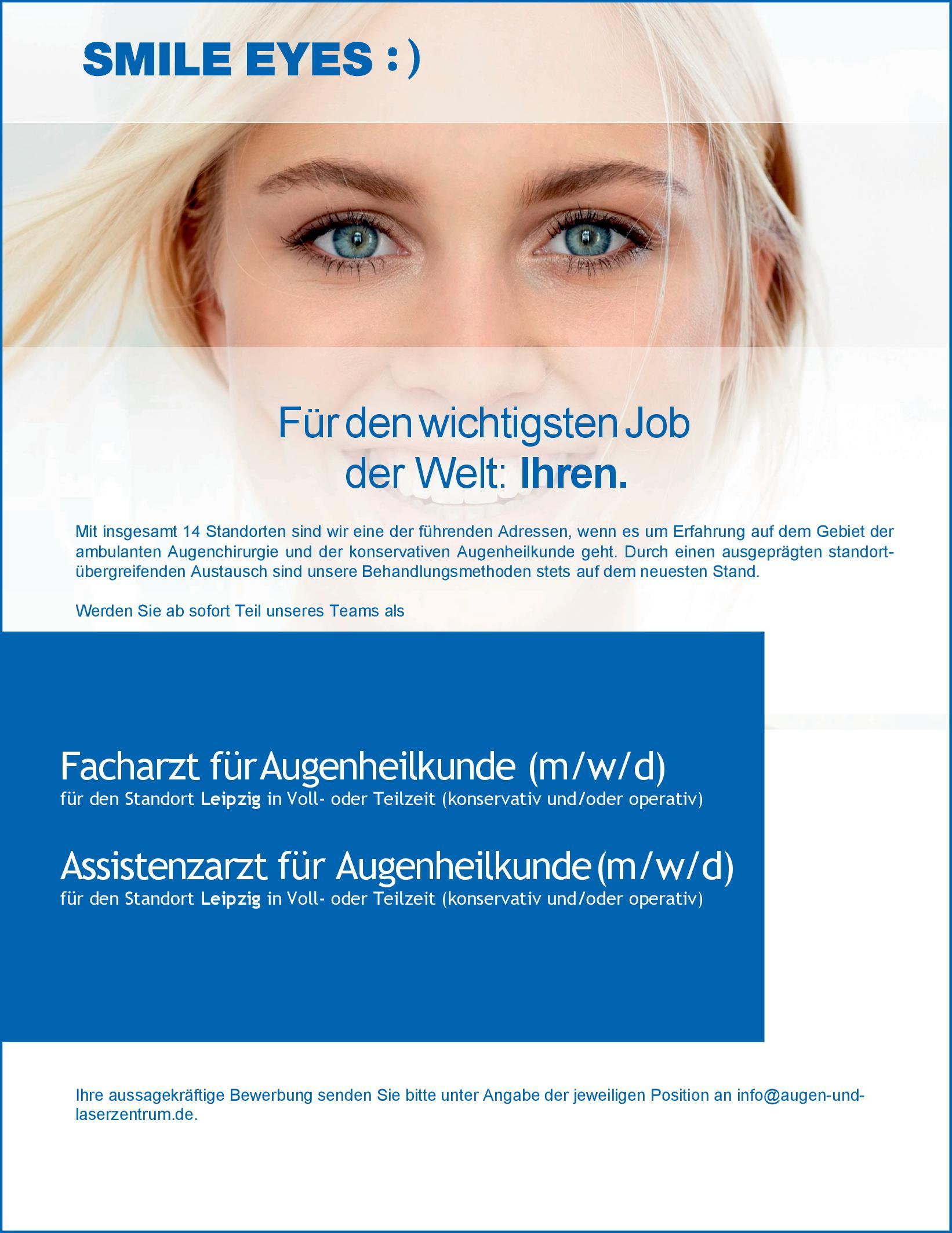SMILE EYES Facharzt für Augenheilkunde (m/w/d) Augenheilkunde Arzt / Facharzt