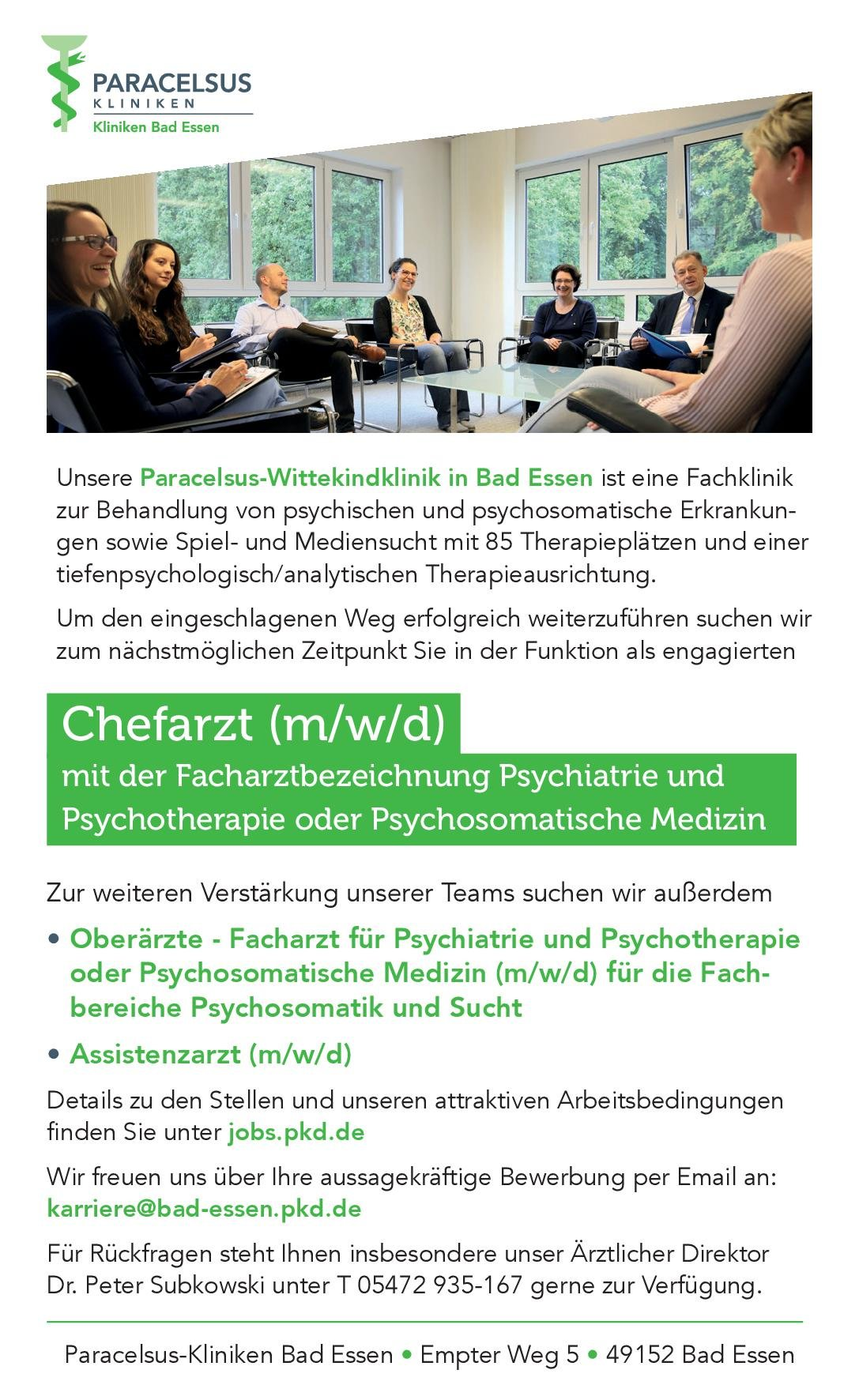Paracelsus Kliniken Chefarzt (m/w/d) mit der Facharztbezeichnung Psychiatrie und Psychotherapie oder Psychosomatische Medizin  Psychiatrie und Psychotherapie, Psychiatrie und Psychotherapie, Psychosomatische Medizin und Psychotherapie Chefarzt