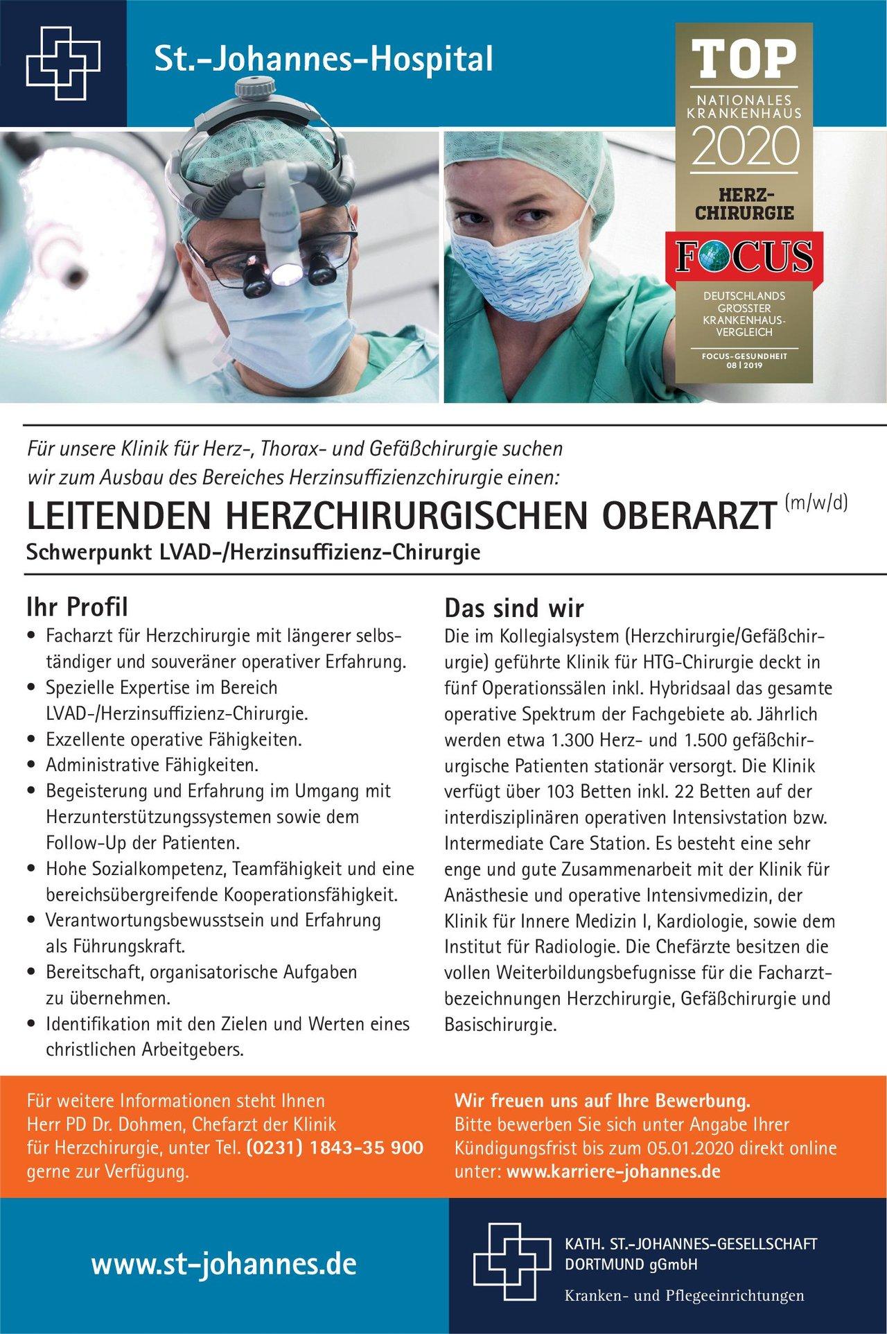 St.-Johannes-Hospital Leitender Herzchirurgischer Oberarzt (m/w/d)  Herzchirurgie, Chirurgie Oberarzt