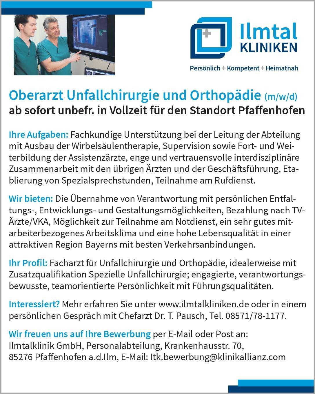 Ilmtalklinik GmbH Oberarzt Unfallchirurgie und Orthopädie (m/w/d)  Orthopädie und Unfallchirurgie, Chirurgie Oberarzt