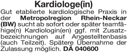 Kardiologische Praxis Kardiologe(in)  Innere Medizin und Kardiologie, Innere Medizin Arzt / Facharzt