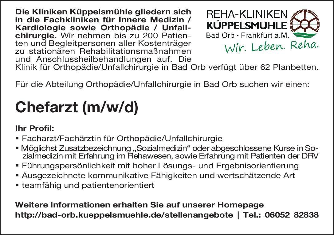 Reha-Kliniken Küppelsmühle Chefarzt (m/w) für die Abteilung Orthopädie/Unfallchirurgie  Orthopädie und Unfallchirurgie, Chirurgie Chefarzt