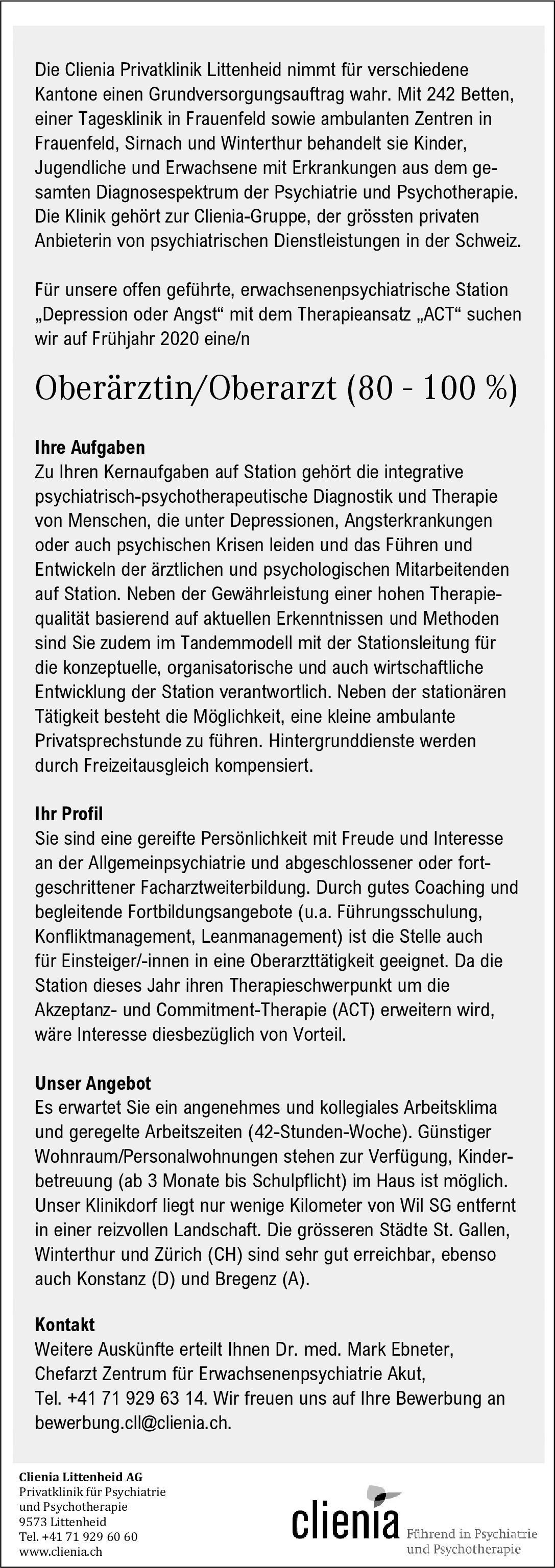 Clienia Littenheid AG Oberärztin/Oberarzt (80 - 100 %)  Psychiatrie und Psychotherapie, Psychiatrie und Psychotherapie Oberarzt