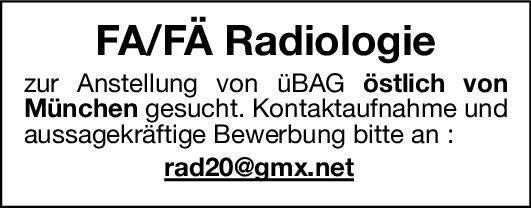 ÜBAG Facharzt/Fachärztin - Radiologie  Radiologie, Radiologie Arzt / Facharzt