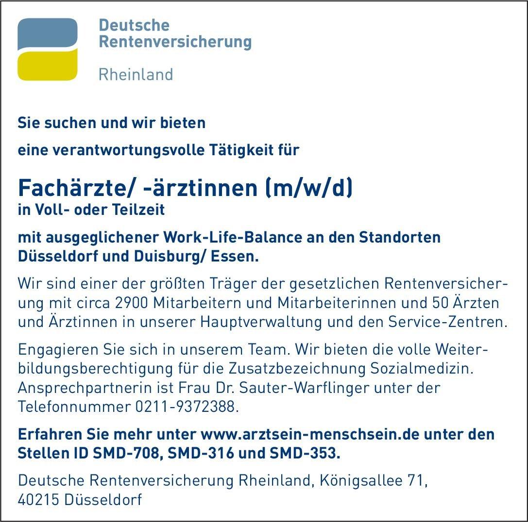 Deutsche Rentenversicherung Rheinland Fachärzte/ -ärztinnen (m/w/d) * ohne Gebiete Arzt / Facharzt