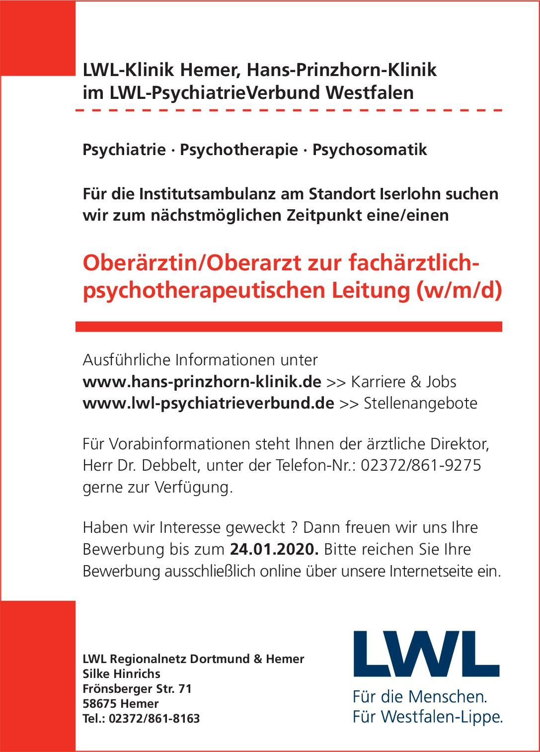 LWL-Klinik Hemer, Hans-Prinzhorn-Klinik Oberärztin/Oberarzt zur fachärztlich-psychotherapeutischen Leitung (w/m/d)  Psychiatrie und Psychotherapie, Psychiatrie und Psychotherapie Oberarzt
