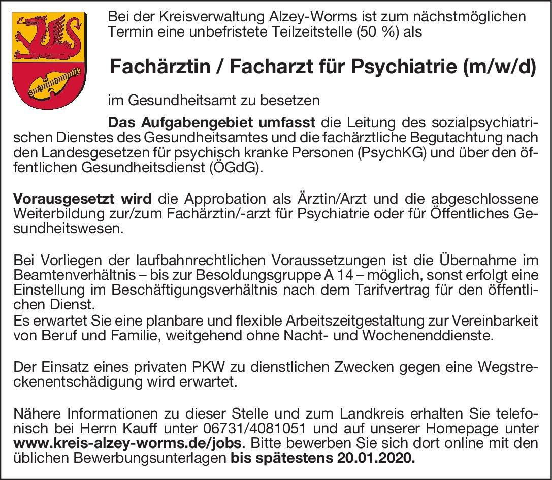 Kreisverwaltung Alzey-Worms Fachärztin / Facharzt für Psychiatrie (m/w/d)  Psychiatrie und Psychotherapie, Öffentliches Gesundheitswesen, Psychiatrie und Psychotherapie Arzt / Facharzt