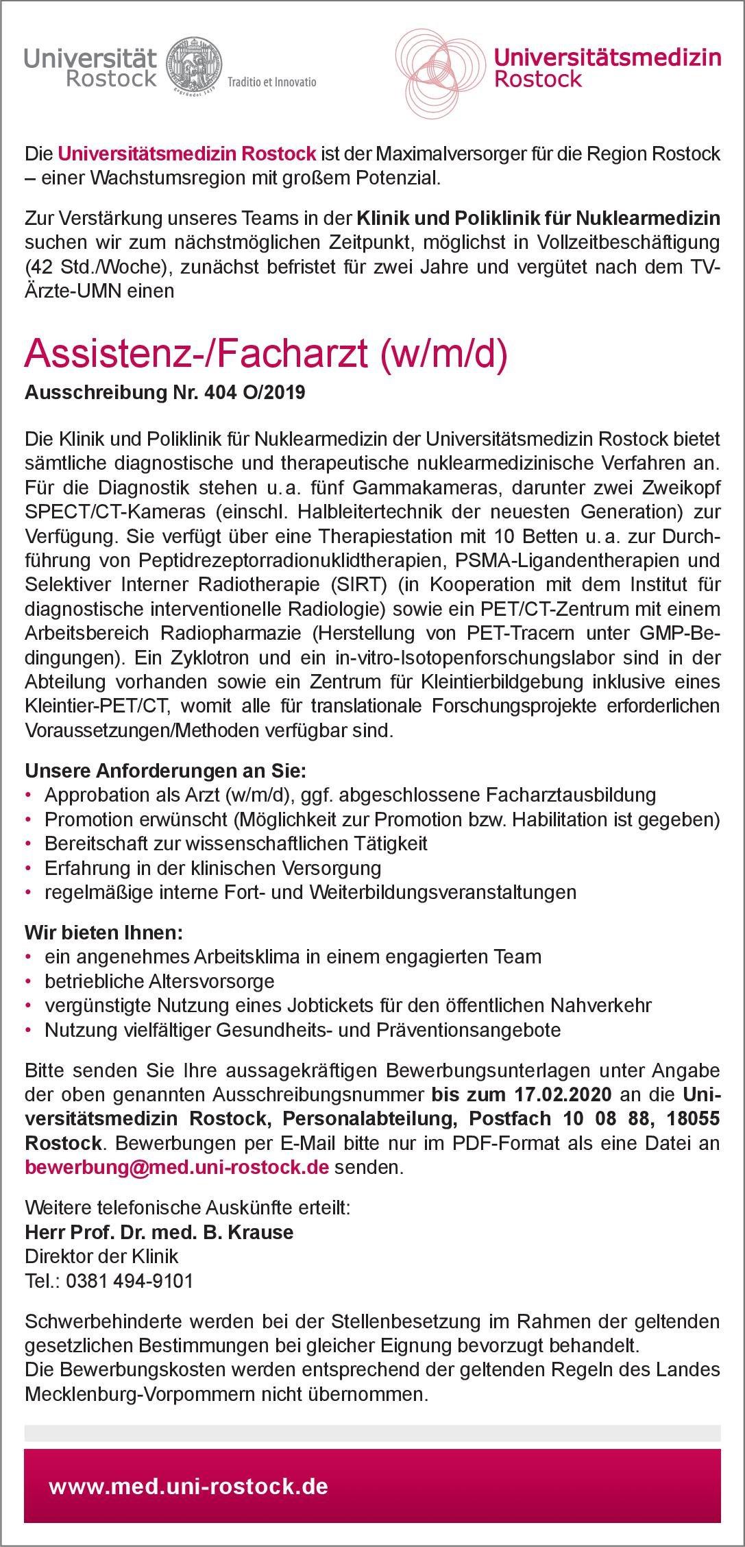 Universitätsmedizin Rostock Assistenz-/Facharzt (w/m/d) Nuklearmedizin Nuklearmedizin Arzt / Facharzt, Assistenzarzt / Arzt in Weiterbildung