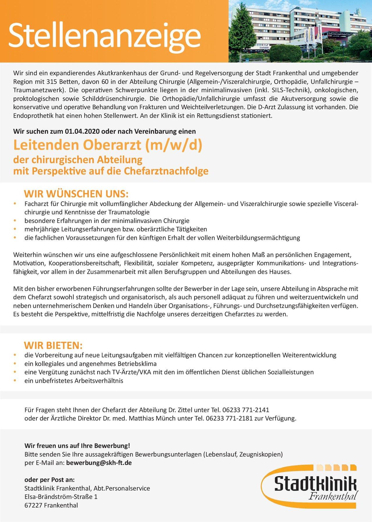 Stadtklinik Frankenthal Leitender Oberarzt (m/w/d) der chirurgischen Abteilung mit Perspektive auf die Chefarztnachfolge  Allgemeinchirurgie, Viszeralchirurgie, Chirurgie Ärztl. Leiter, Oberarzt