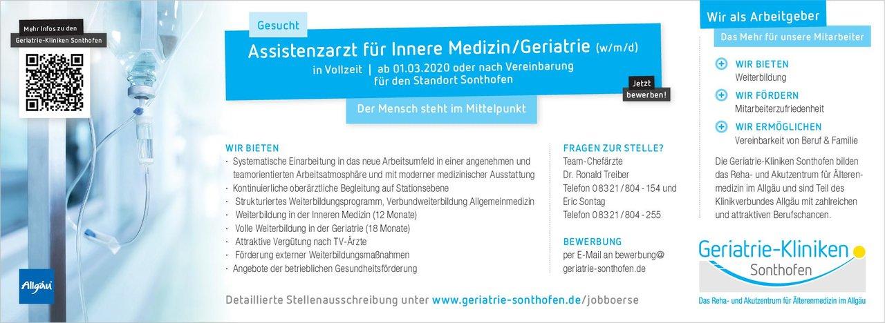 Geriatrie-Kliniken Sonthofen Assistenzarzt für Innere Medizin/Geriatrie (w/m/d)  Innere Medizin, Geriatrie, Innere Medizin Assistenzarzt / Arzt in Weiterbildung