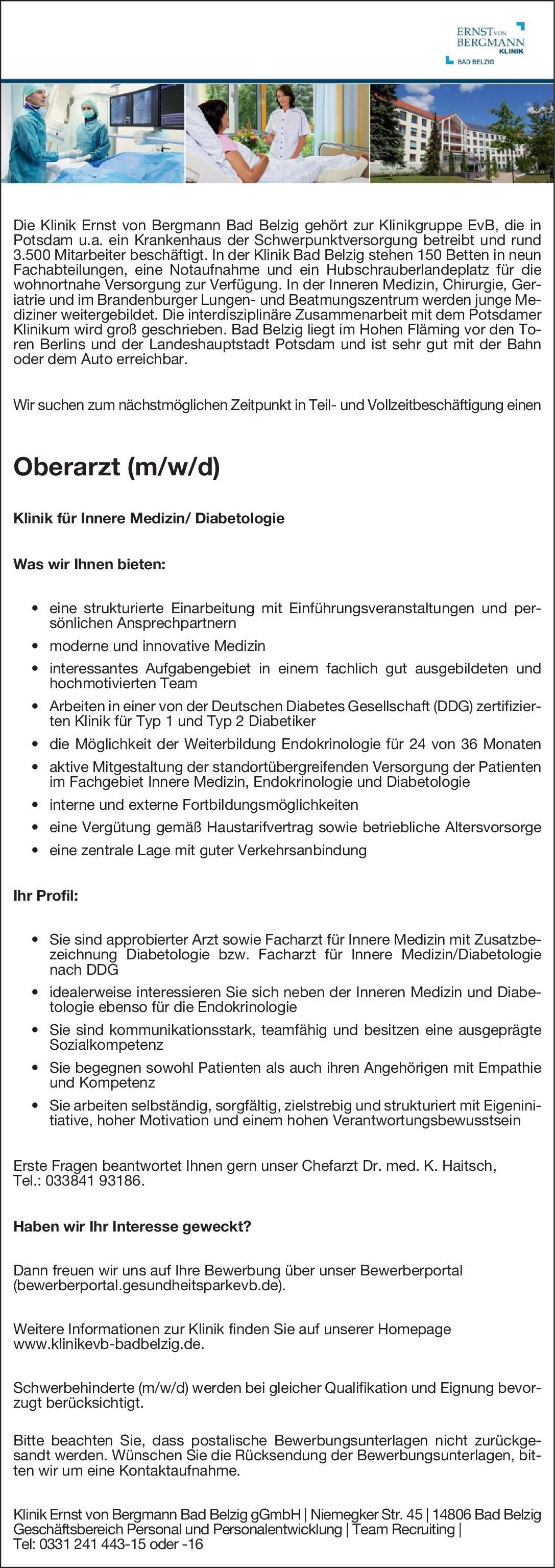 Klinik Ernst von Bergmann Bad Belzig gGmbH Oberarzt (w/d/m) Innere Medizin Oberarzt