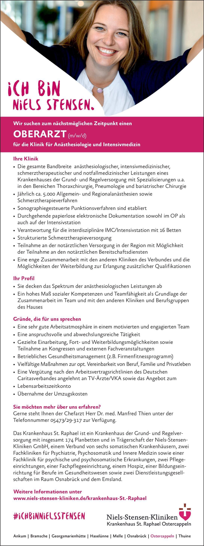 Niels-Stensen-Kliniken, Krankenhaus St. Raphael Oberarzt (m/w/d) für die Klinik für Anästhesiologie und Intensivmedizin Anästhesiologie / Intensivmedizin Oberarzt