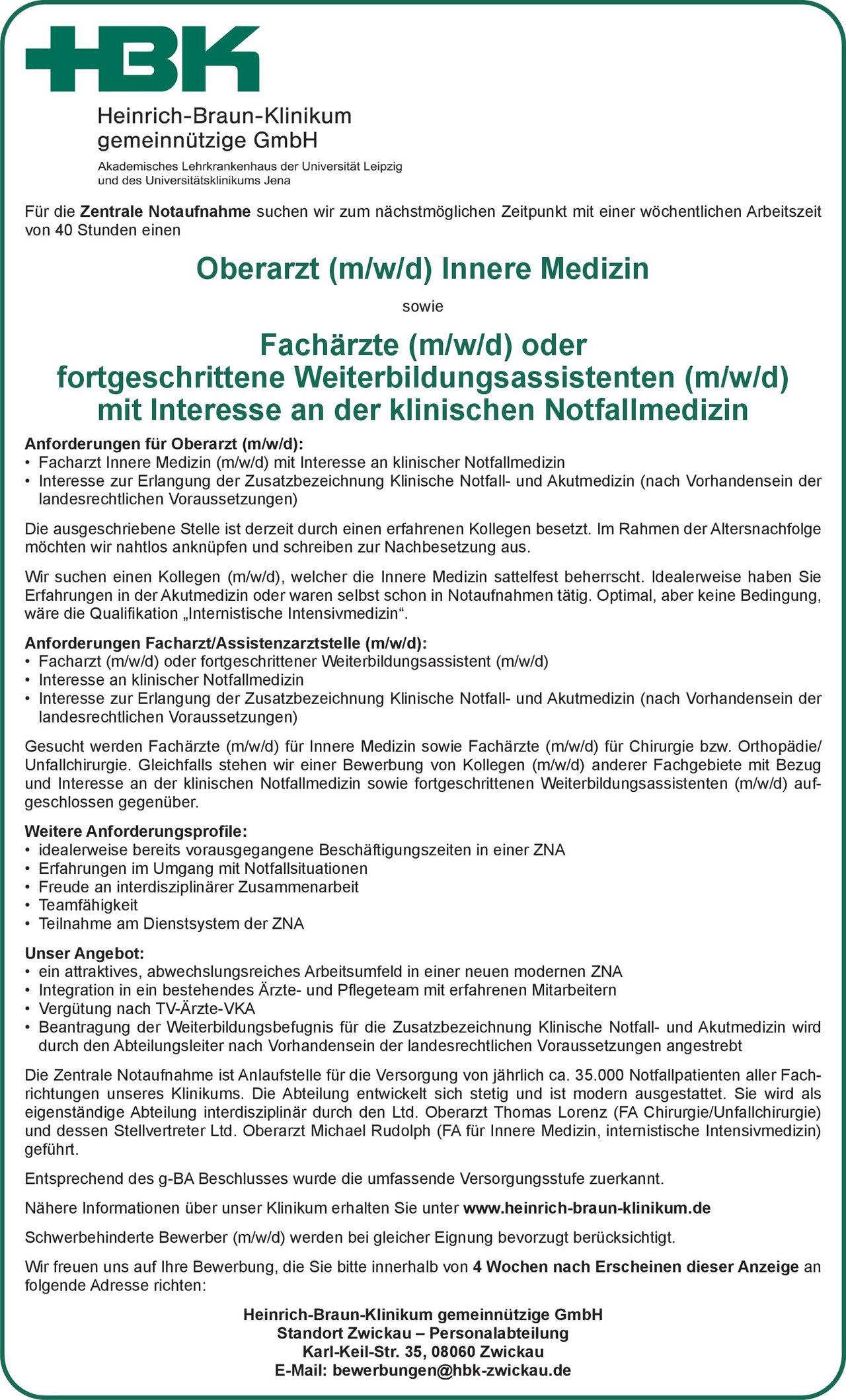 Heinrich-Braun-Klinikum gemeinnützige GmbH Oberarzt (m/w/d) Innere Medizin  Innere Medizin, Innere Medizin Oberarzt