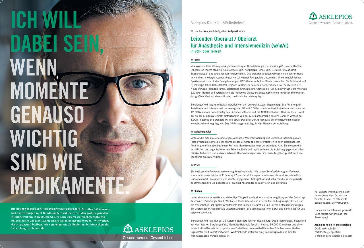 Asklepios Klinik im Städtedreieck Leitender Oberarzt / Oberarzt für Anästhesie und Intensivmedizin (w/m/d) Anästhesiologie / Intensivmedizin Oberarzt