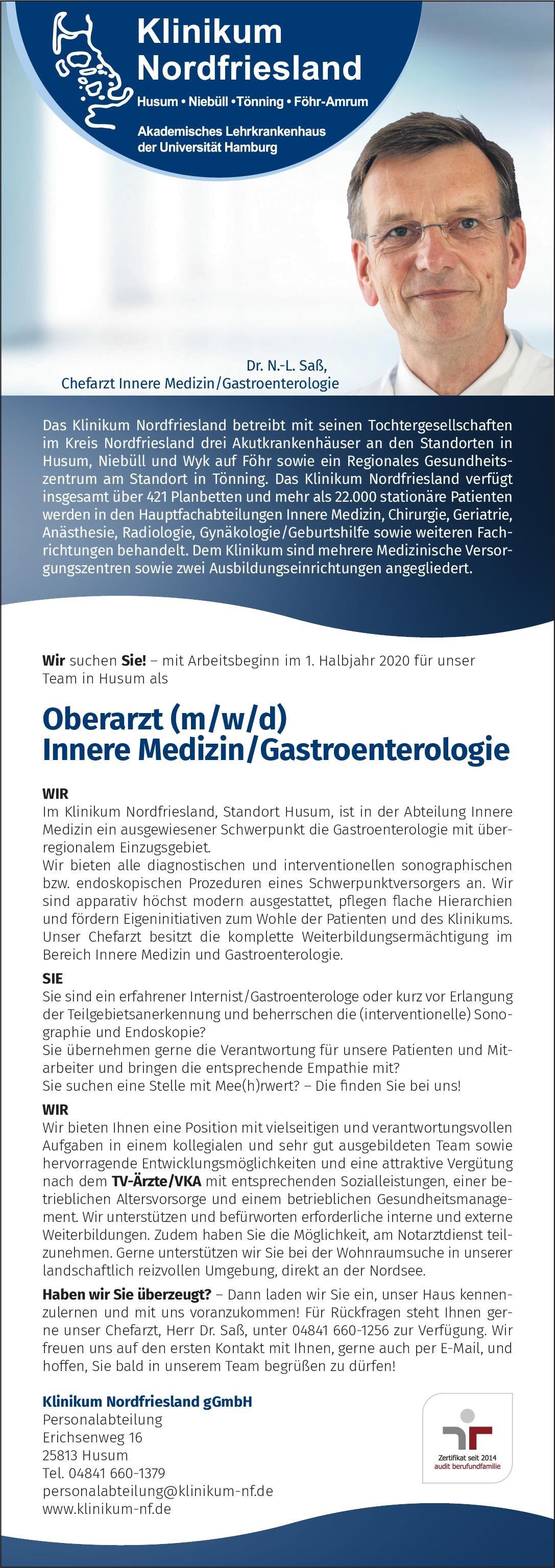 Klinikum Nordfriesland gGmbH Oberarzt (m/w/d) Innere Medizin/Gastroenterologie  Innere Medizin und Gastroenterologie, Innere Medizin Oberarzt