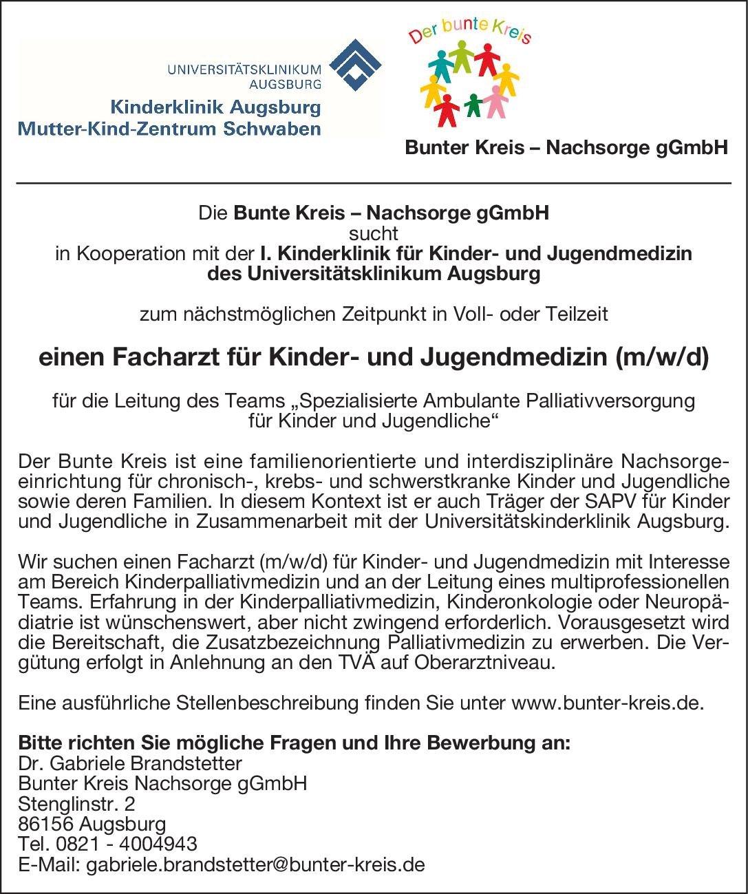 Bunter Kreis Nachsorge gGmbH Facharzt für Kinder- und Jugendmedizin (m/w/d)  Kinder- und Jugendmedizin, Kinder- und Jugendmedizin Arzt / Facharzt