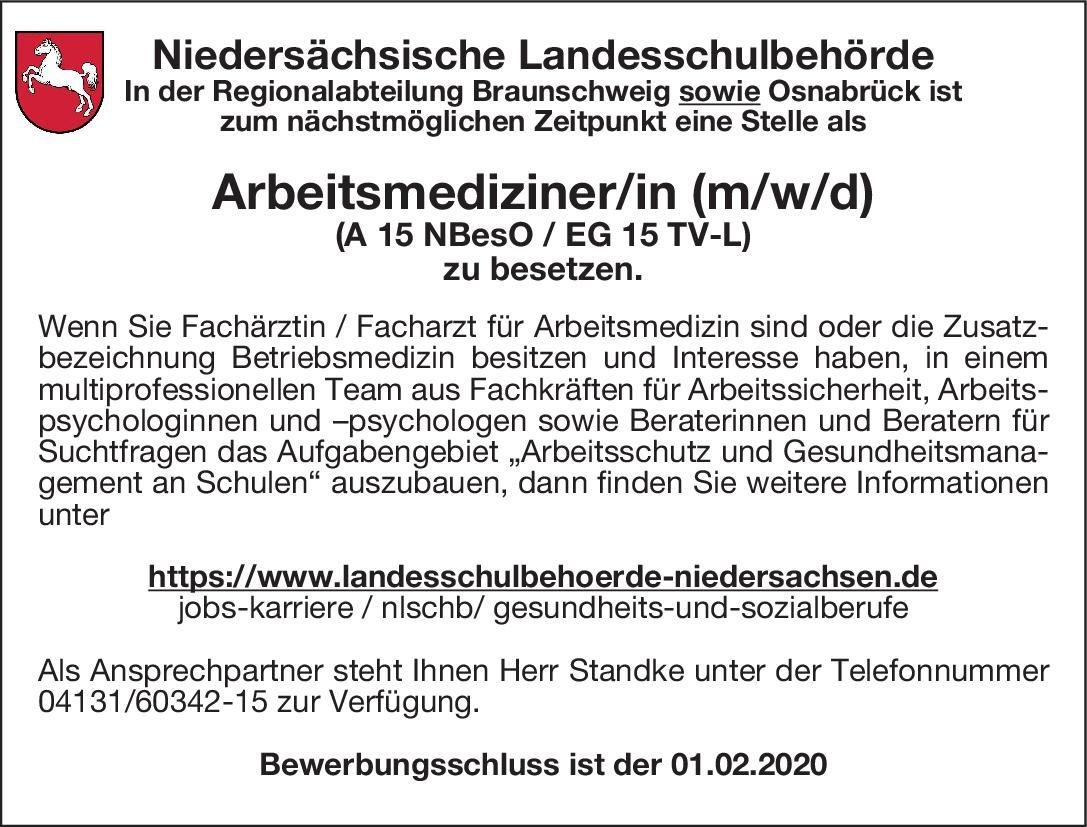 Niedersächsische Landesschulbehörde Arbeitsmediziner/in (m/w/d) Arbeitsmedizin Arzt / Facharzt