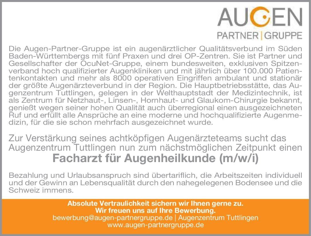Augenzentrum Tuttlingen Facharzt für Augenheilkunde (m/w/i) Augenheilkunde Arzt / Facharzt