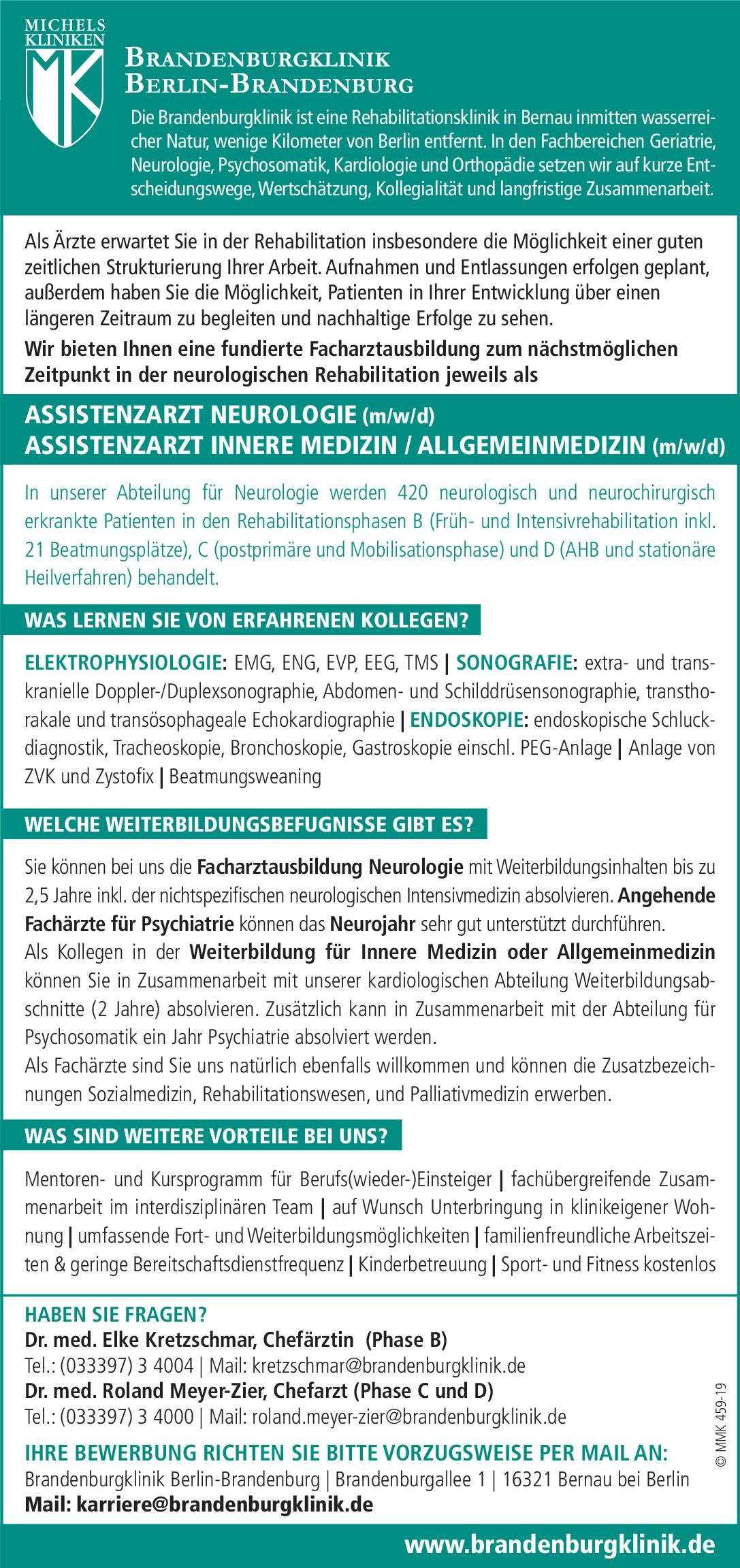 Brandenburgklinik Berlin-Brandenburg Assistenzarzt Psychiatrie (m/w/d)  Psychiatrie und Psychotherapie, Psychiatrie und Psychotherapie Assistenzarzt / Arzt in Weiterbildung