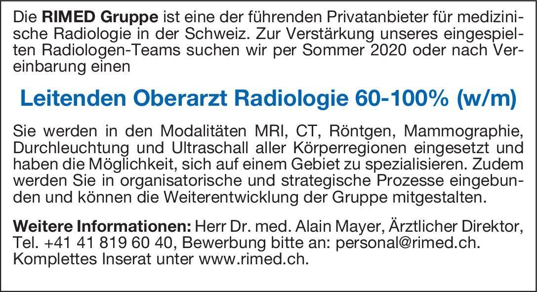 RIMED Gruppe Leitender Oberarzt Radiologie 60-100% (w/m)  Radiologie, Radiologie Oberarzt