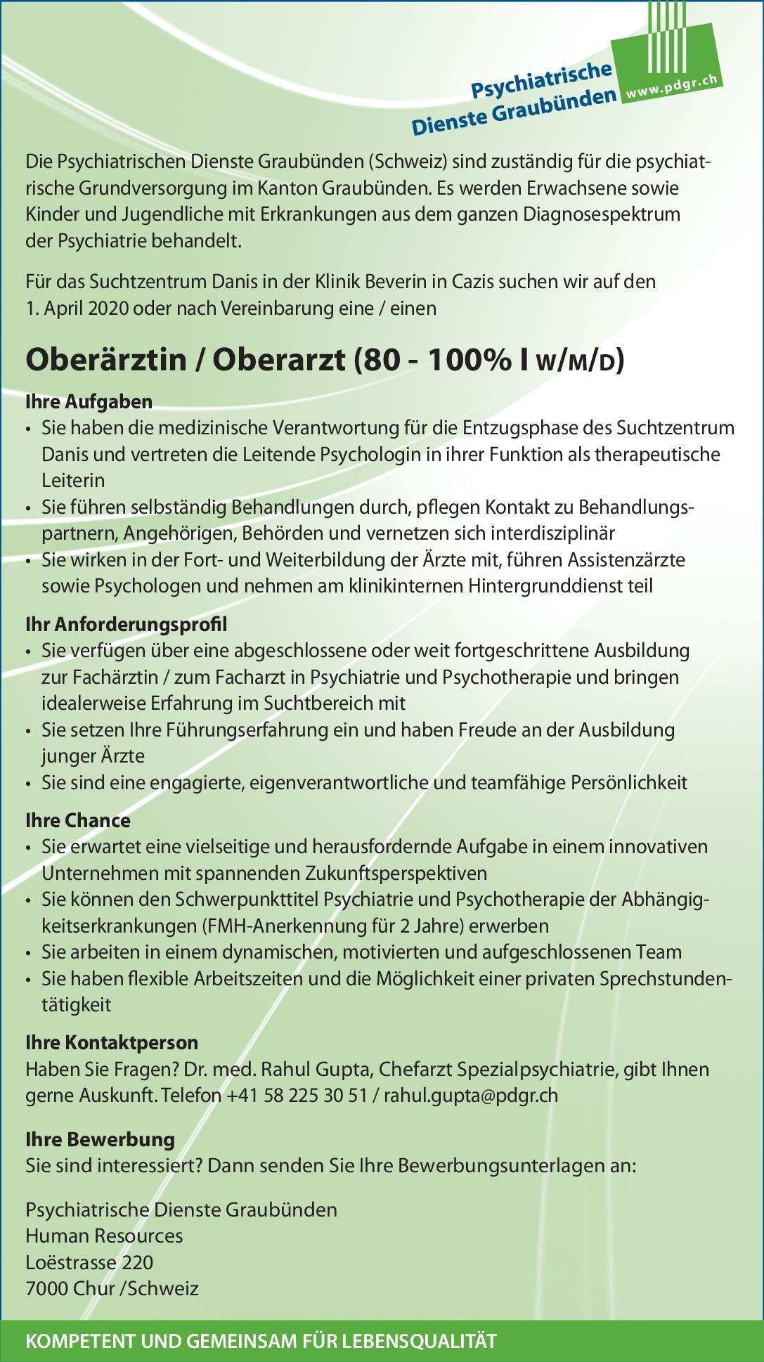 Klinik Beverin Cazis, Psychiatrische Dienste Graubünden Oberärztin / Oberarzt (80 - 100% I w/m/d)  Psychiatrie und Psychotherapie, Psychiatrie und Psychotherapie Oberarzt