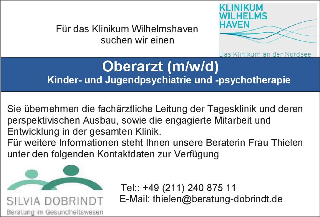 Klinikum Wilhelmshaven Oberarzt (m/w/d) Kinder- und Jugendpsychiatrie und -psychotherapie Kinder- und Jugendpsychiatrie und -psychotherapie Oberarzt