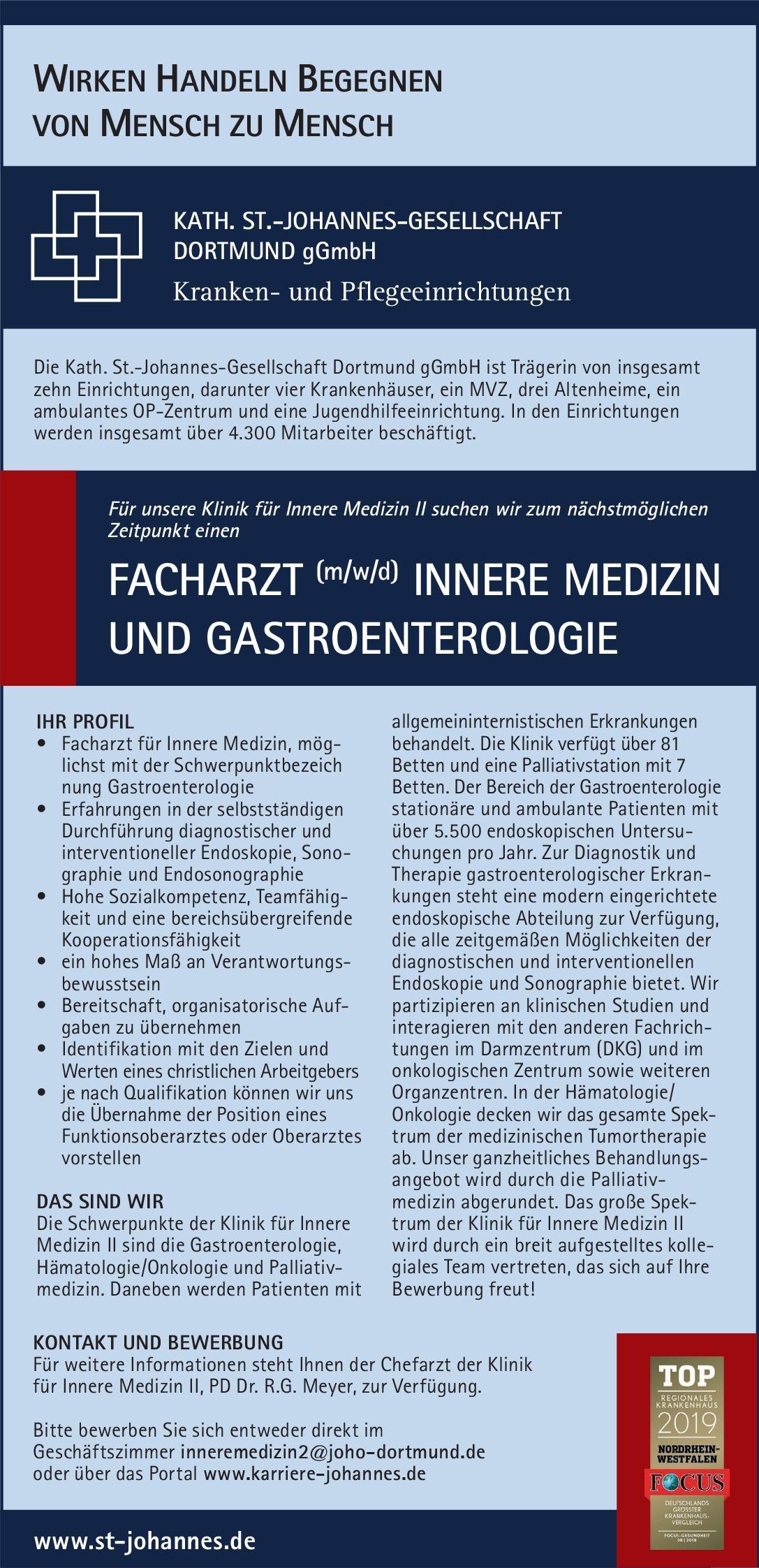 Kath. St.-Johannes-Gesellschaft Dortmund gGmbH Facharzt (m/w/d) Innere Medizin und Gastroenterologie  Innere Medizin und Gastroenterologie, Innere Medizin Arzt / Facharzt