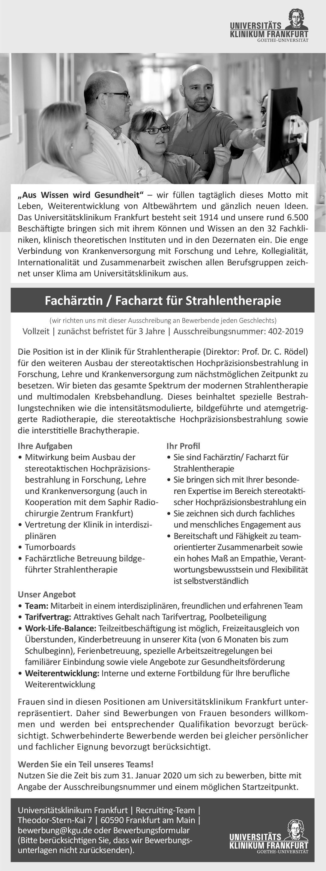 Universitätsklinikum Frankfurt Fachärztin / Facharzt für Strahlentherapie Strahlentherapie Arzt / Facharzt