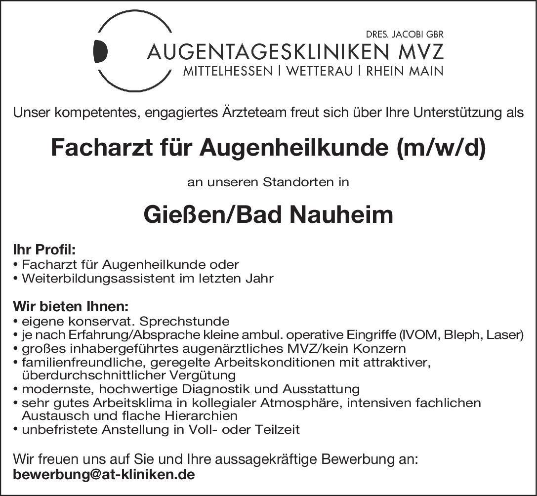 Augentageskliniken MVZ - Dres. Jacobi Gbr Facharzt für Augenheilkunde (m/w/d) Augenheilkunde Arzt / Facharzt