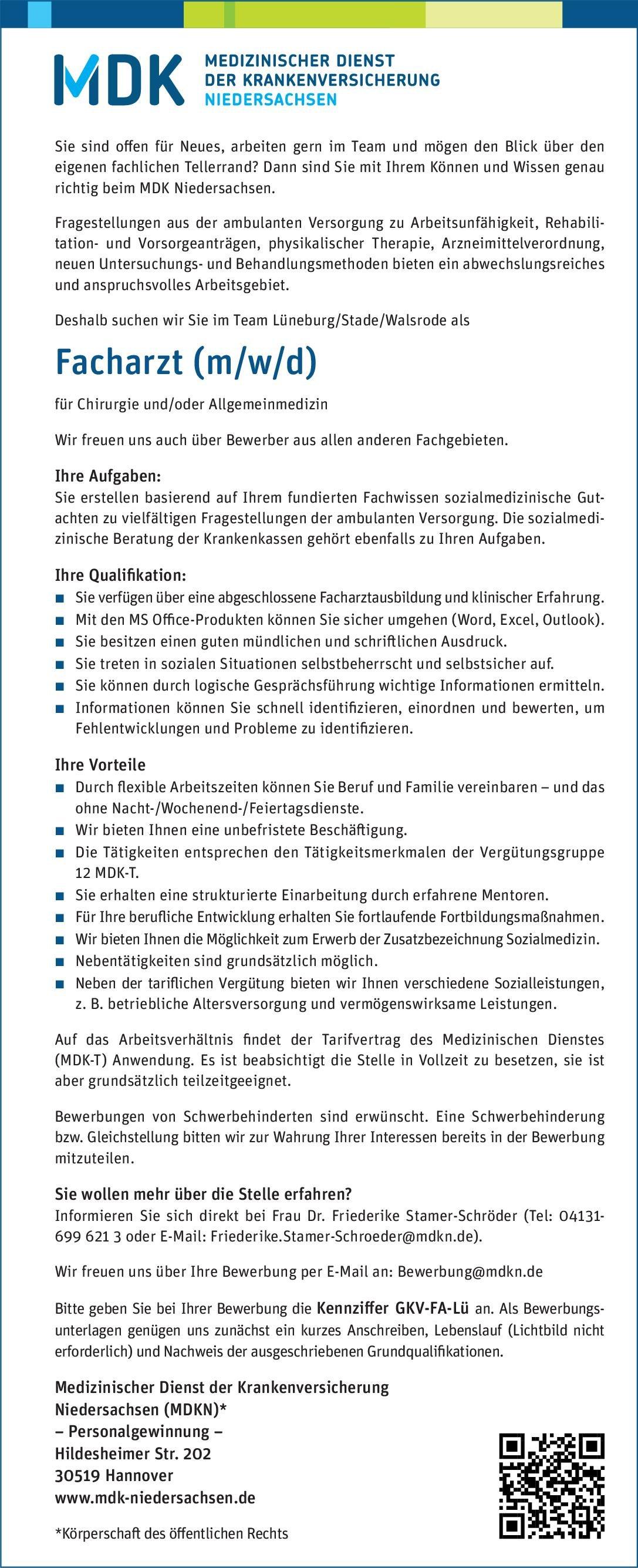 Medizinischer Dienst der Krankenversicherung Niedersachsen (MDKN) Facharzt (m/w/d) für Chirurgie und/oder Allgemeinmedizin  Allgemeinchirurgie, Allgemeinmedizin, Chirurgie Arzt / Facharzt