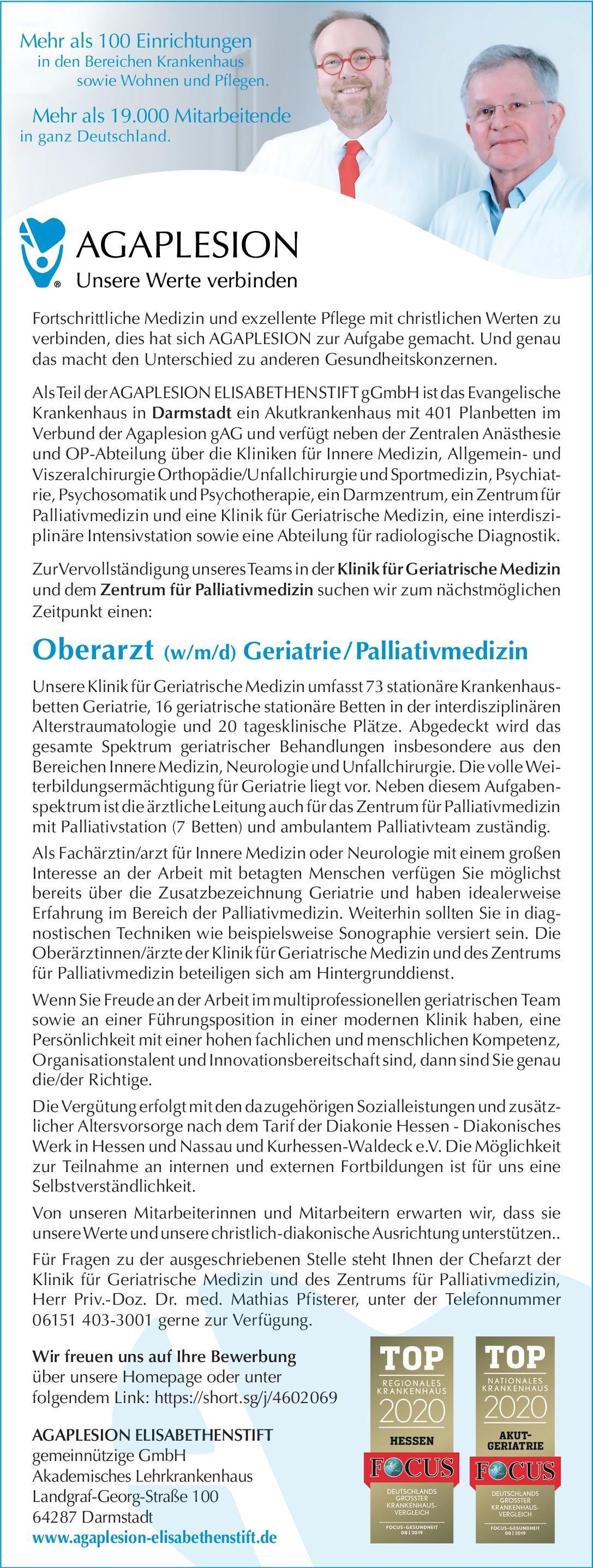 AGAPLESION ELISABETHENSTIFTgemeinnützige GmbH Oberarzt (w/m/d) Geriatrie/Palliativmedizin Geriatrie, Palliativmedizin Oberarzt