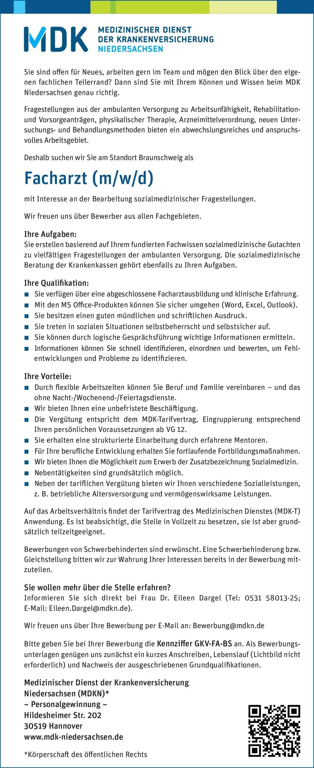 Medizinischer Dienst der Krankenversicherung Niedersachsen (MDKN)* Facharzt (m/w/d) mit Interesse an der Bearbeitung sozialmedizinischer Fragestellungen  Psychiatrie und Psychotherapie, Psychiatrie und Psychotherapie Arzt / Facharzt