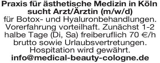 Praxis für ästhetische Medizin Arzt/Ärztin für Botox- und Hyaluronbehandlungen  Plastische und ästhetische Chirurgie, Chirurgie Arzt / Facharzt