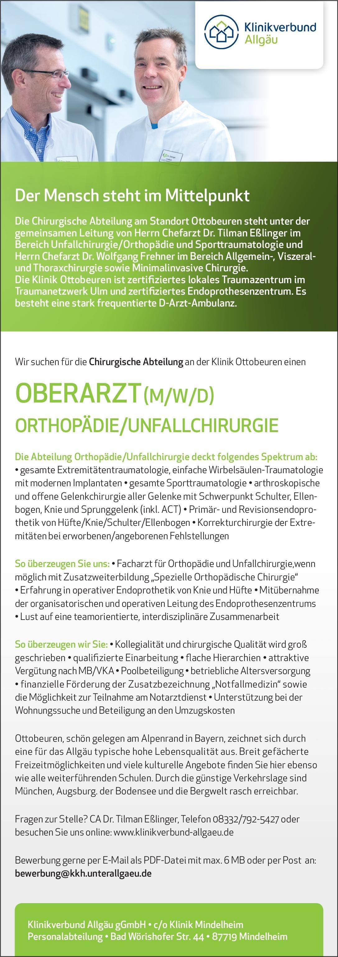 Klinikverbund Allgäu gGmbH - Klinik Ottobeuren Oberarzt (m/w/d) Orthopädie/Unfallchirurgie  Orthopädie und Unfallchirurgie, Chirurgie Oberarzt