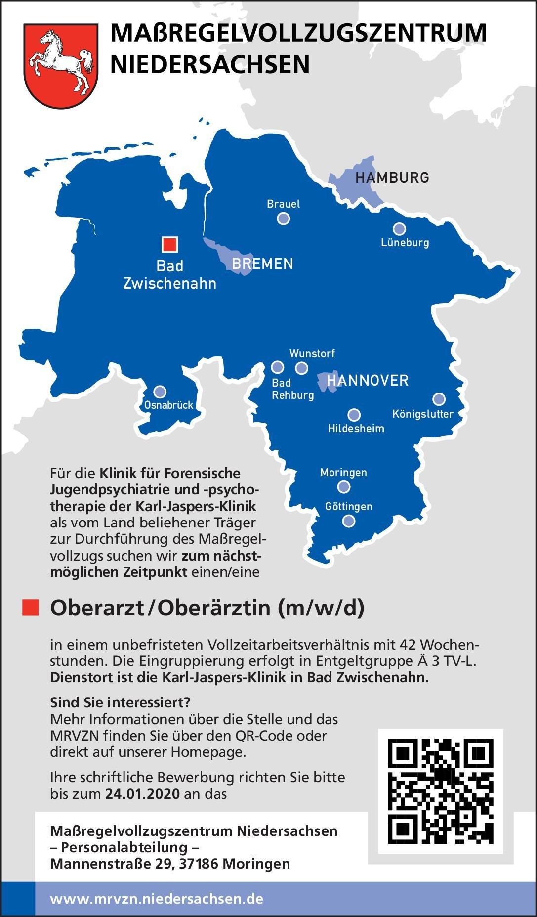 Maßregelvollzugszentrum Niedersachsen - Karl-Jaspers-Klinik Oberarzt / Oberärztin (m/w/d)  Forensische Psychiatrie, Kinder- und Jugendpsychiatrie und -psychotherapie, Psychiatrie und Psychotherapie Oberarzt
