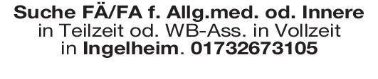 Praxis Weiterbildungsassistent/assistentin Allgemeinmedizin o. Innere  Innere Medizin, Allgemeinmedizin, Innere Medizin Assistenzarzt / Arzt in Weiterbildung