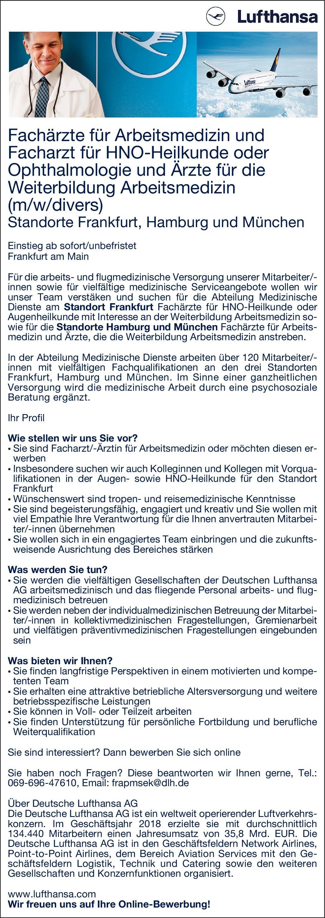 Deutsche Lufthansa AG Fachärzte für Arbeitsmedizin und Facharzt für HNO-Heilkunde oder Ophthalmologie und Ärzte für die Weiterbildung Arbeitsmedizin (m/w/divers)  Hals-Nasen-Ohrenheilkunde, Arbeitsmedizin, Augenheilkunde Arzt / Facharzt, Assistenzarzt / Arzt in Weiterbildung